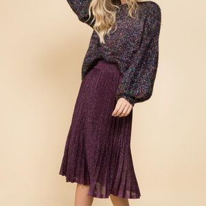 TESORO Collective Midi Pleated Plum Metallic Skirt